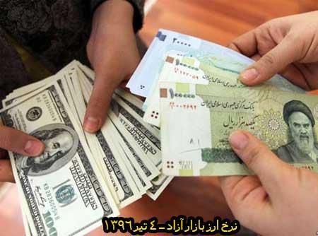 نرخ ارز ( بازار آزاد ) 4 تیر 1396